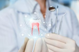 The doctor shows the model of a healthy tooth on blurred background.