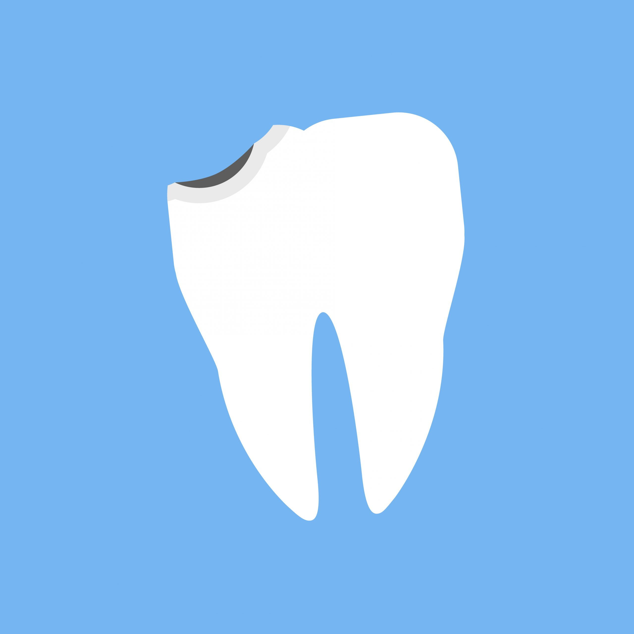 Broken white tooth design flat. Broken and dental, teeth and chipped tooth, bad teeth, cracked tooth, tooth and medicine oral, dent human, shape tooth, stomatology medical, crack tooth illustration